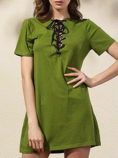 Lace-Up Solid Color Dress - Green 2xl