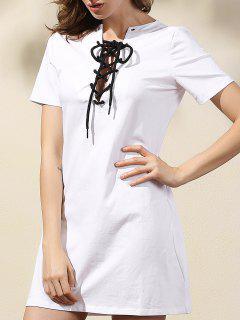 Color Del Vestido Con Cordones De Solid - Blanco M