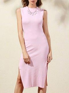 Side Slit Bodycon Dress - Pink Xl