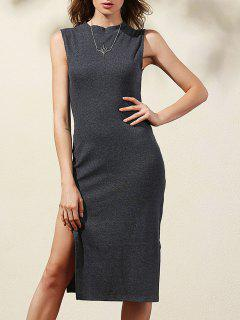 Side Slit Bodycon Dress - Deep Gray L