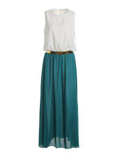 Color Block Sleeveless Round Neck Maxi Dress - White And Green L