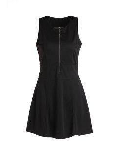 Black Zippered Fit And Flare Dress - Black Xl