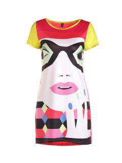 Cartoon Print Colorful High-Low Hem Dress - L