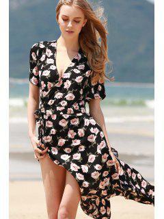 Cross-Over Collier Floral Print Dress Haut Slit - Noir L