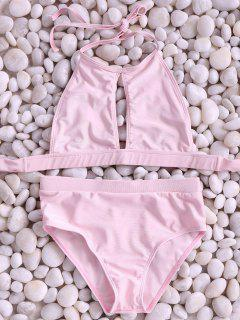 Pink High Neck Cut Out Bikini Set - Pink S