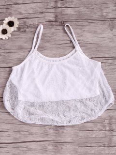 White Lace Splicing Cami Sleeveless Crop Top - White M