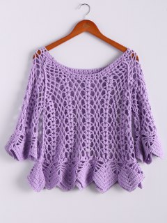 Solid Color Cut Out Round Collar Butterfly Sleeve Sweater - Purple
