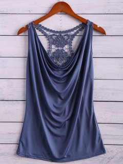Lace Spliced Cowl Collar Tank Top - Ice Blue S