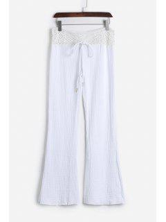 Lace Waist White Flare Pants - White Xl