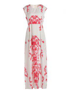 Floral Print Floor-Length White Dress - White Xl