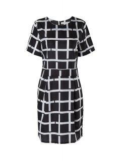 Karo Kurzärmelige Kleid - Schwarz 2xl