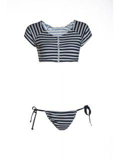 Striped Scoop Neck Short Sleeve Bikini Set - Blue And White L