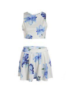 Floral Sleeveless Crop Top And A Line Skirt Suit - White M
