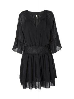 Flare Sleeve Layered Plus Size Chiffon Dress - Black 2xl
