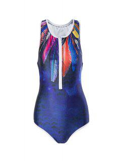 Feather Print Round Neck One-Piece Swimwear - Purplish Blue S