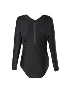 V Neck Long Sleeve One Piece Swimsuit - Black L
