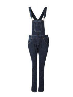Blue Black Denim Dungarees - Deep Blue Xl