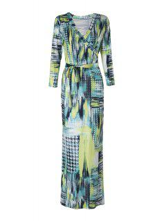 Houndstooth Print 3/4 Sleeve Maxi Dress - Yellow M