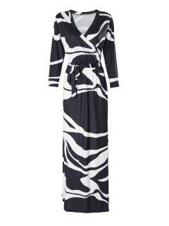 Black And White 3/4 Sleeve Maxi Dress - White And Black L