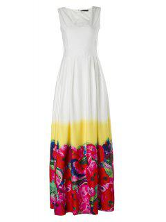 High-Waisted Floral Print Maxi Dress - Red L