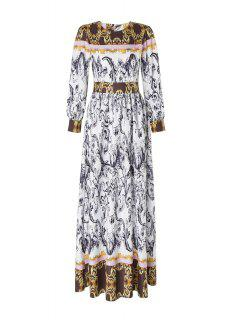 Abstract Printed Long Sleeve Maxi Dress - Multicolor M