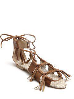 Tassels Lace-Up Flat Heel Sandals - Brown 36