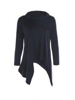 Violet Chic Moitié Manches Asymétrie T-shirt - Bleu Foncé L