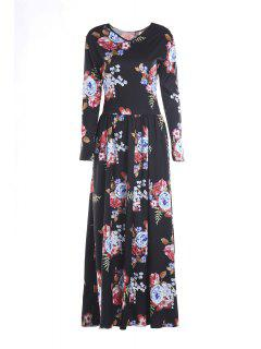 Colorful Floral Print Long Sleeve Dress - Black S