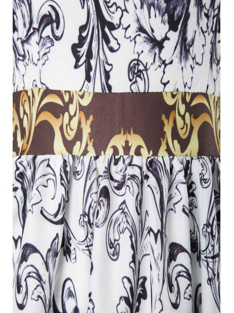 women Abstract Printed Long Sleeve Maxi Dress - MULTICOLOR L Mobile