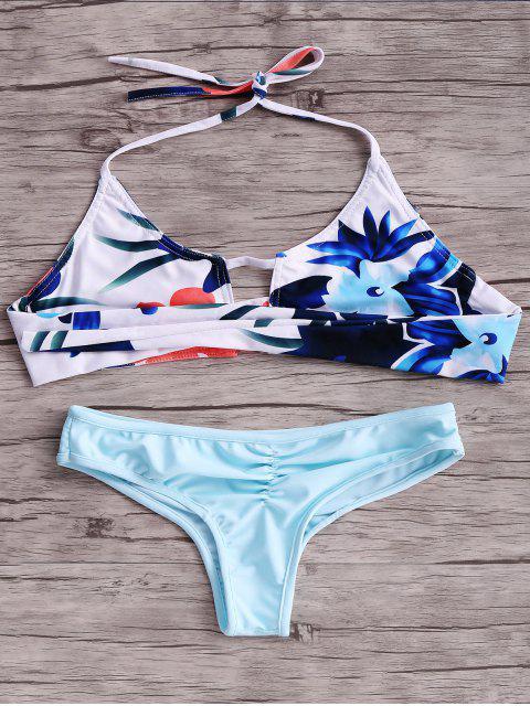 trendy Print Cut Out Halter Bikini Set - BLUE L Mobile