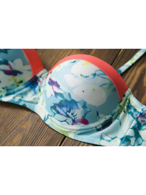 Ensemble de bikini push-up cami imprimé floral - Multicolore L Mobile