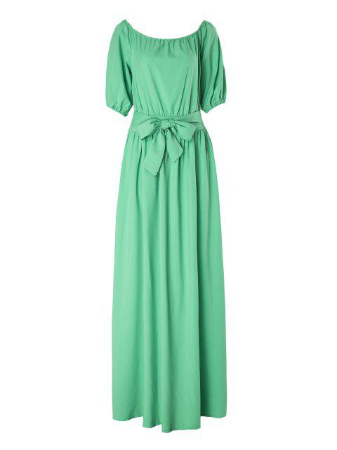 affordable Slash Neck Green Half Sleeve Dress - LIGHT GREEN M Mobile