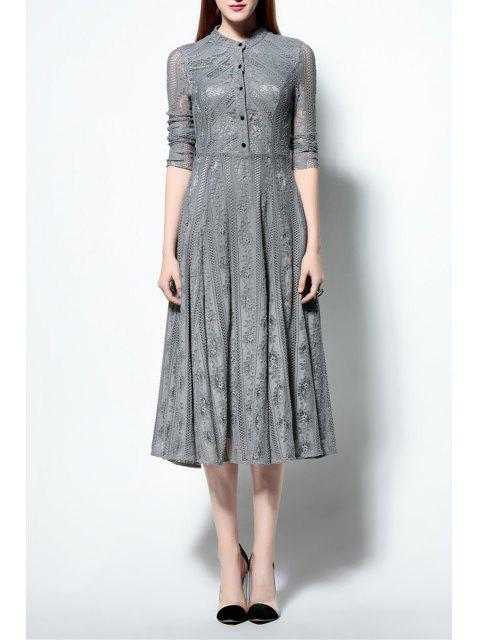 online Solid Color Ruched Lace Dress - GRAY XL Mobile