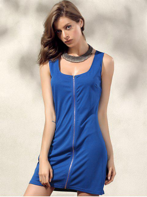 shop Bodycon Zip Dress - BLUE S Mobile
