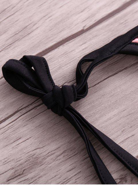 shop Drawstring Hit Color Halter Bikini Set - BLACK M Mobile