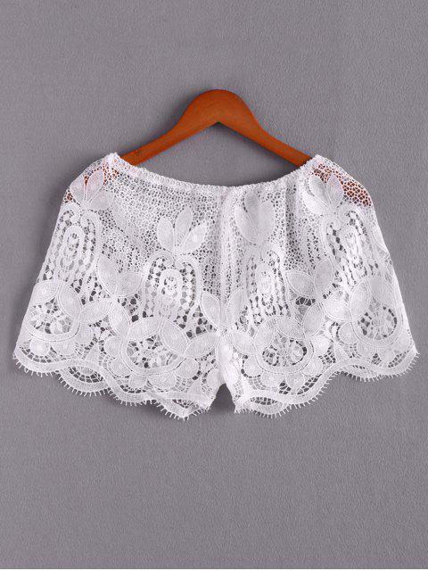fashion Lace Beach Mini Shorts - WHITE L Mobile