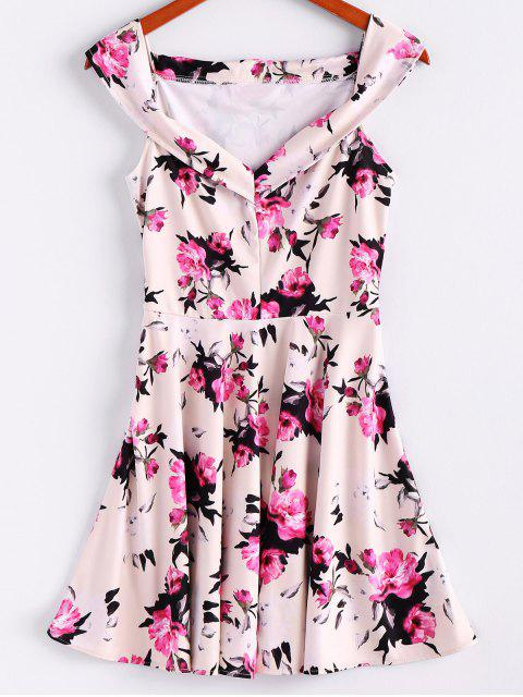 lady Floral Print Sleeveless Waisted A Line Dress - OFF-WHITE L Mobile
