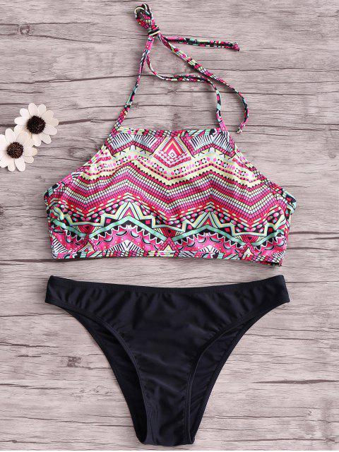 chic Wire Free Printing Halter Bikini Set - BLACK XL Mobile