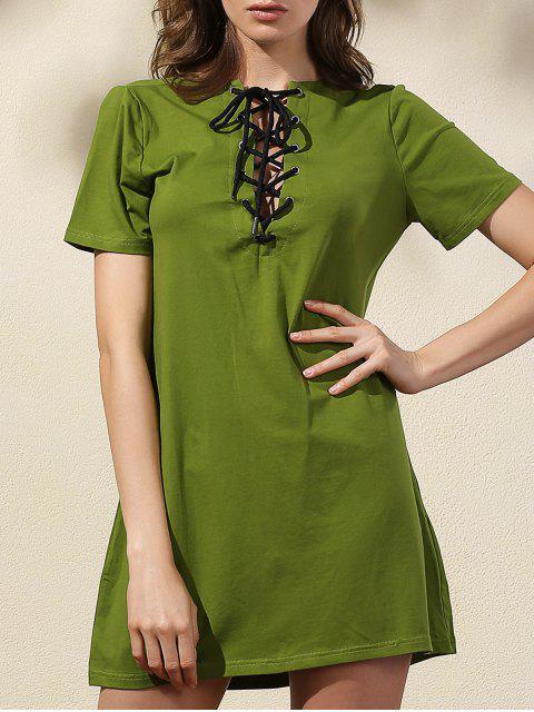 Lace-Up Solid Color-Kleid - Grün 2XL Mobile