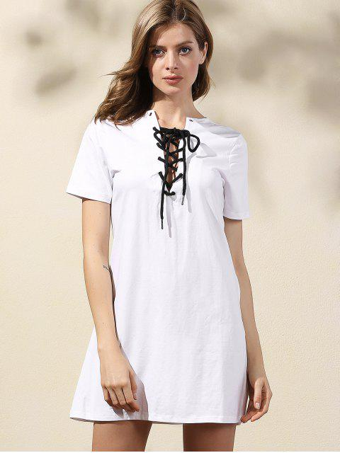 latest Lace-Up Solid Color Dress - WHITE M Mobile