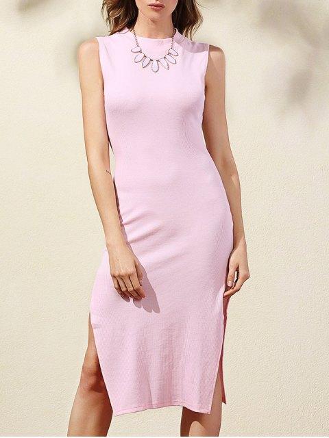 womens Side Slit Bodycon Dress - PINK XL Mobile