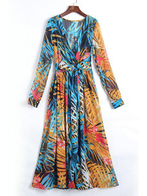 best Tropical Print Maxi Chiffon Dress - BLUE L Mobile