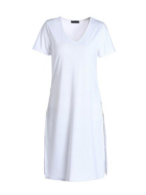 unique Side Slit Long T-Shirt - WHITE S Mobile