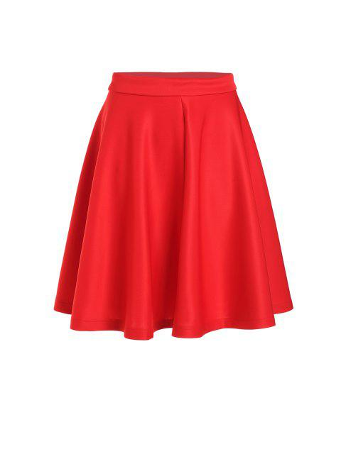 women High-Waisted Ruffled Red Midi Skirt - RED M Mobile