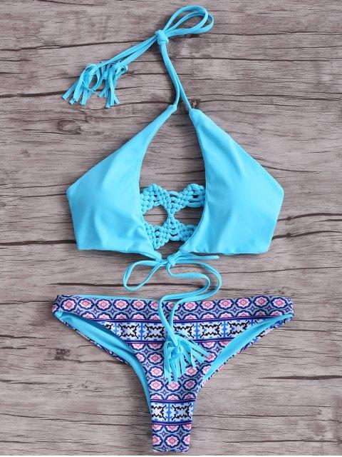 women's Macrame Back Bikini Set - BLUE L Mobile