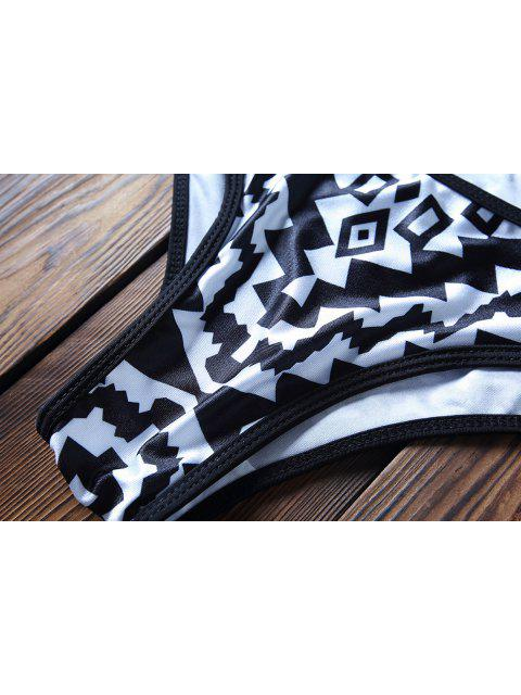 latest Spaghetti Strap Geometric Print Bikini Set - WHITE AND BLACK XL Mobile