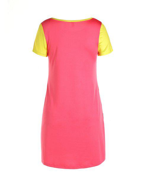 hot Cartoon Print Colorful High-Low Hem Dress - COLORMIX S Mobile