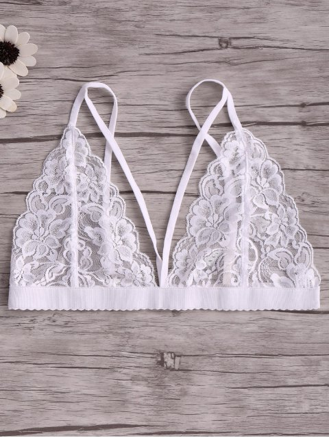 fashion Solid Color Lace Spaghetti Straps Spliced Bra - WHITE L Mobile