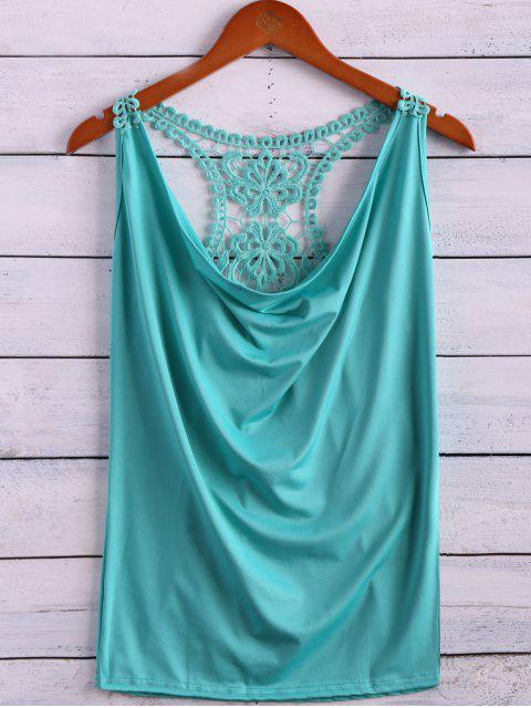 affordable Lace Spliced Cowl Collar Tank Top - LIGHT GREEN M Mobile