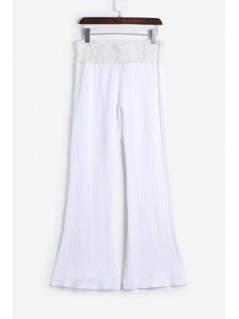 women's Lace Waist White Flare Pants - WHITE S Mobile